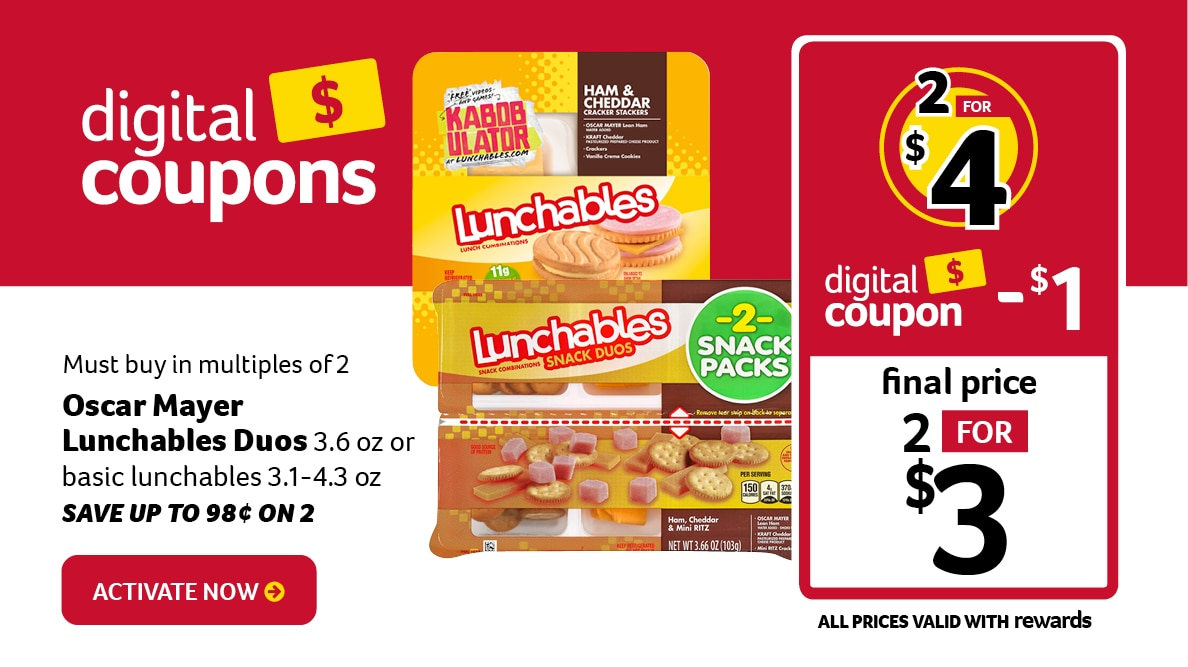 Featured Digital Coupon - Oscar Mayer Lunchables and Lunchables Duos 2 for $3 with $1 off