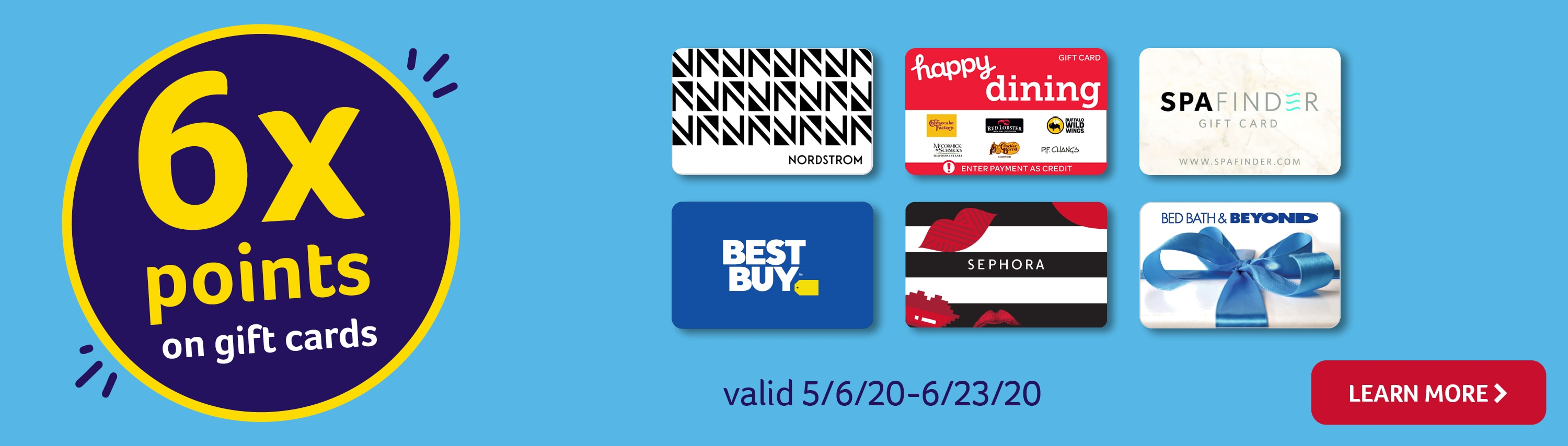 6x points on gift cards