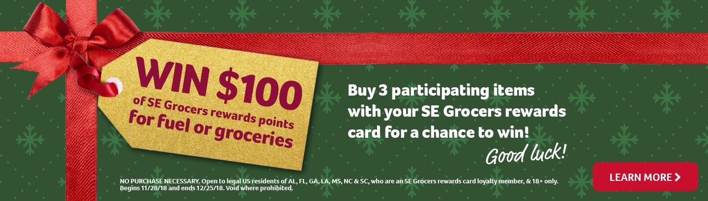 win 100 dollars of se grocers rewards points