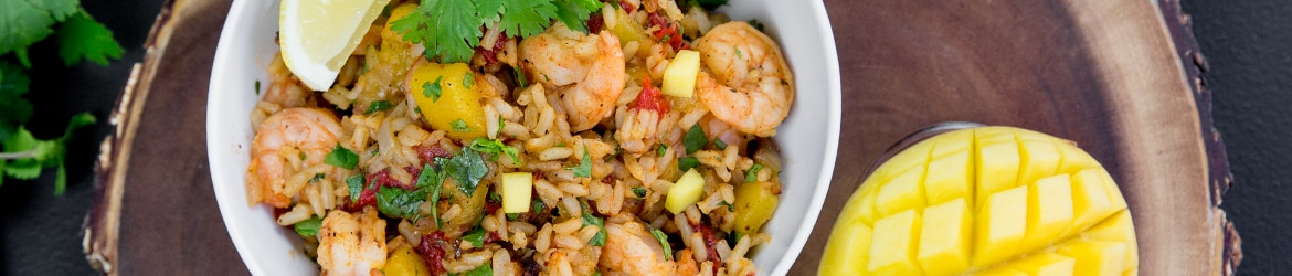Sautéed Mango Shrimp with Brown Rice and Cilantro